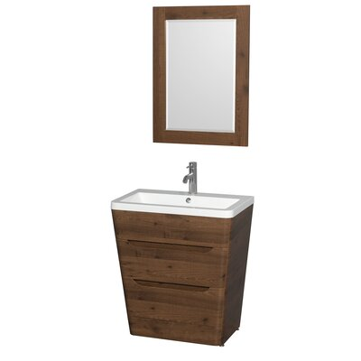Caprice 30 Single Walnut Bathroom Vanity Set with Mirror