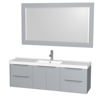 Murano 60 Single Gray Bathroom Vanity Set with Mirror