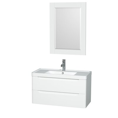Murano 36 Single Glossy White Bathroom Vanity Set with Mirror