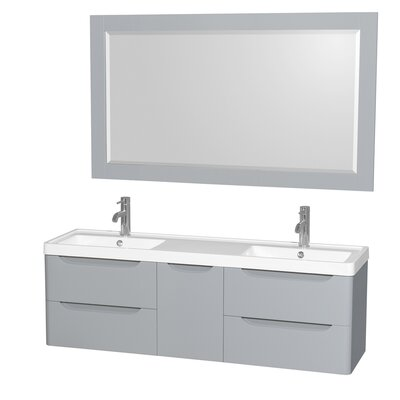Murano 60 Double Gray Bathroom Vanity Set with Mirror