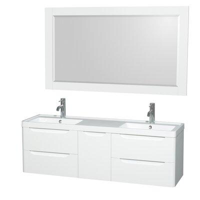 Murano 60 Double Glossy White Bathroom Vanity Set with Mirror