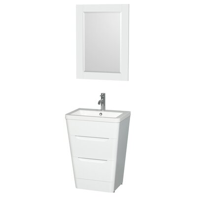 Caprice 24 Single Glossy White Bathroom Vanity Set with Mirror