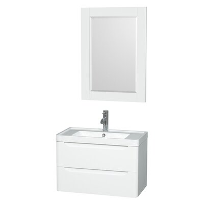 Murano 30 Single Glossy White Bathroom Vanity Set with Mirror