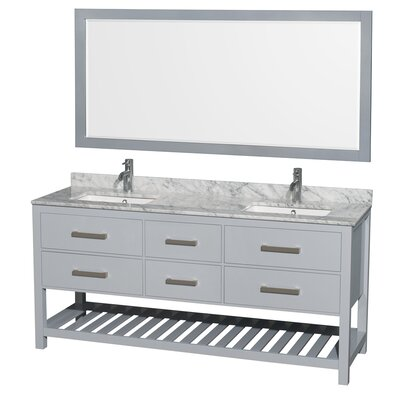 Natalie 72 Double Gray Bathroom Vanity Set with Mirror Top Finish: White Carrera Marble, Facuet Mount: Single Hole