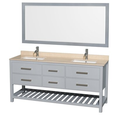 Natalie 72 Double Gray Bathroom Vanity Set with Mirror Top Finish: Ivory Marble, Facuet Mount: 8 Centers
