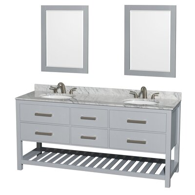 Natalie 72 Double Gray Bathroom Vanity Set with Mirror Top Finish: White Carrera Marble, Faucet Mount: Single Hole