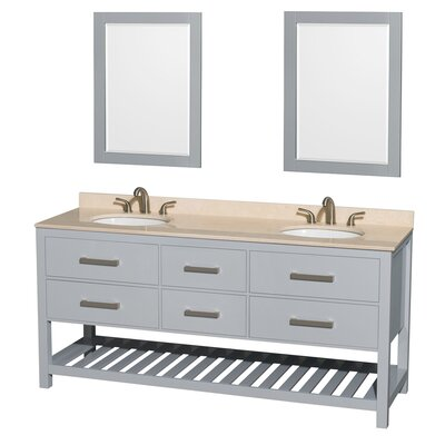 Natalie 72 Double Gray Bathroom Vanity Set with Mirror Top Finish: Ivory Marble, Faucet Mount: 8 Centers
