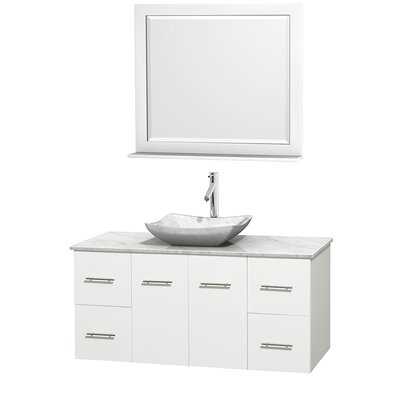 Centra 48 Single White Bathroom Vanity Set with Mirror Top Finish: White Carrera Marble, Sink Finish: Avalon White Carrera Marble