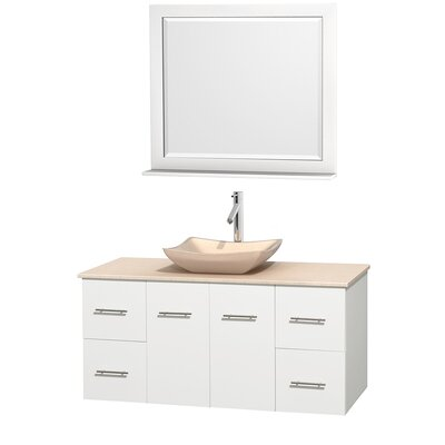 Centra 48 Single White Bathroom Vanity Set with Mirror Top Finish: Ivory Marble, Sink Finish: Avalon Ivory Marble