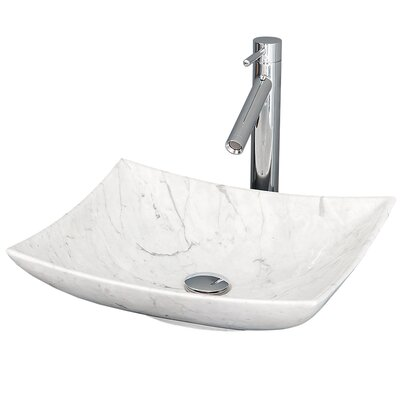 Arista Rectangular Vessel Bathroom Sink Sink Finish: White Carrera