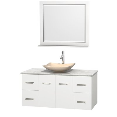 Centra 48 Single White Bathroom Vanity Set with Mirror Top Finish: White Carrera Marble, Sink Finish: Arista Ivory Marble