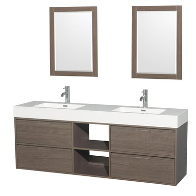 Daniella 72 Double Gray Oak Bathroom Vanity Set with Mirror