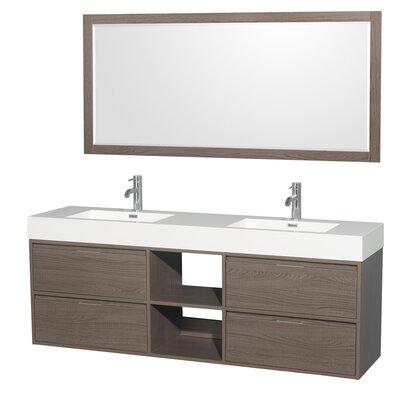 Daniella 72 Double Gray Oak Bathroom Vanity Set with Mirror