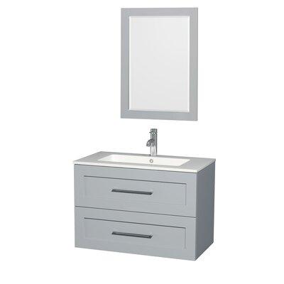 Olivia 36 Single Dove Gray Bathroom Vanity Set with Mirror
