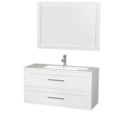 Olivia 47 Single Glossy White Bathroom Vanity Set with Mirror