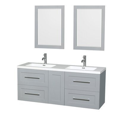 Olivia 60 Double Dove Gray Bathroom Vanity Set with Mirror