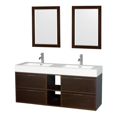 Daniella 60 Double Espresso Bathroom Vanity Set with Mirror