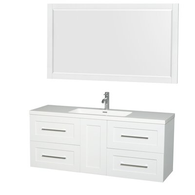 Olivia 60 Single Glossy White Bathroom Vanity Set with Mirror