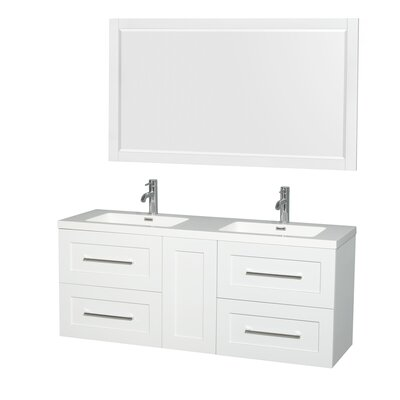 Olivia 60 Double Glossy White Bathroom Vanity Set with Mirror