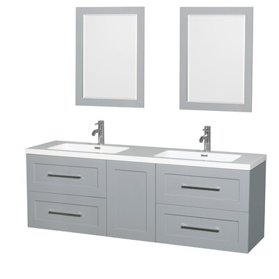 Olivia 72 Double Dove Gray Bathroom Vanity Set with Mirror