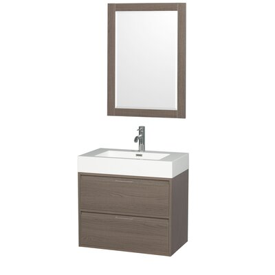 Daniella 29 Single Gray Oak Bathroom Vanity Set with Mirror