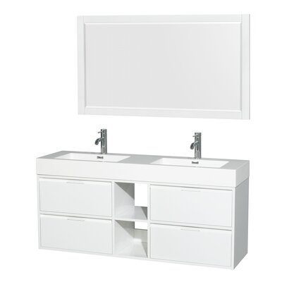 Daniella 60 Double Glossy White Bathroom Vanity Set with Mirror