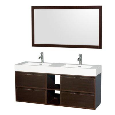Daniella 60 Double Espresso Bathroom Vanity Set with Mirror