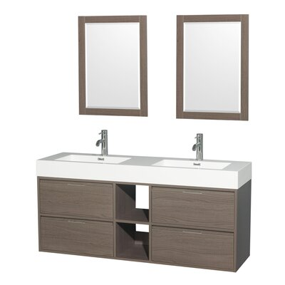 Daniella 60 Double Gray Oak Bathroom Vanity Set with Mirror