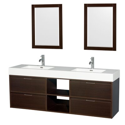 Daniella 72 Double Espresso Bathroom Vanity Set with Mirror