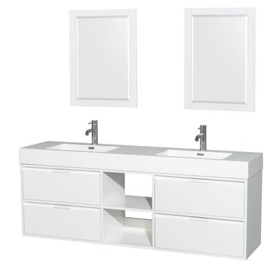 Daniella 72 Double Glossy White Bathroom Vanity Set with Mirror
