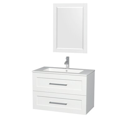 Olivia 36 Single Glossy White Bathroom Vanity Set with Mirror