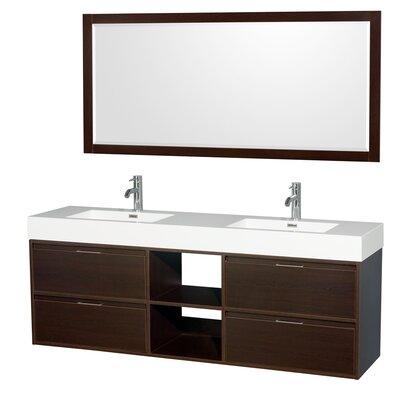Daniella 72 Double Espresso Bathroom Vanity Set with Mirror
