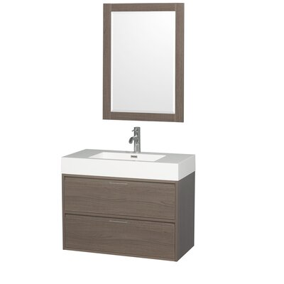 Daniella 35 Single Gray Oak Bathroom Vanity Set with Mirror
