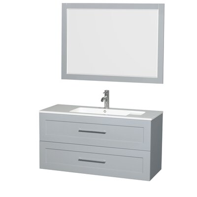 Olivia 47 Single Dove Gray Bathroom Vanity Set with Mirror