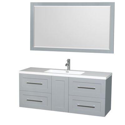 Olivia 60 Single Dove Gray Bathroom Vanity Set with Mirror