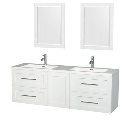 Olivia 72 Double Glossy White Bathroom Vanity Set with Mirror