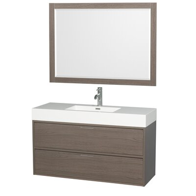 Daniella 47 Single Gray Oak Bathroom Vanity Set with Mirror