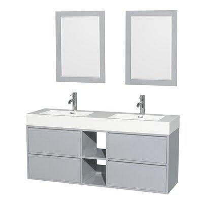 Daniella 60 Double Dove Gray Bathroom Vanity Set with Mirror