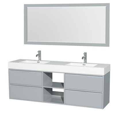 Daniella 72 Double Dove Gray Bathroom Vanity Set with Mirror