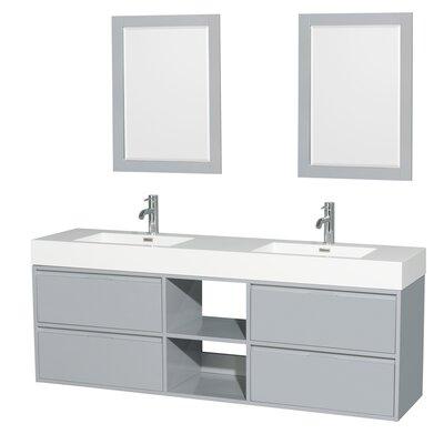 Daniella 72 Double Dove Gray Bathroom Vanity Set with Mirror