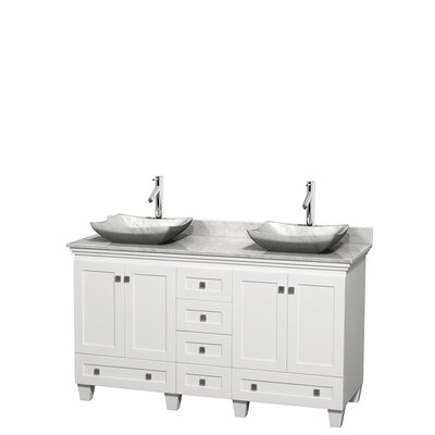 Acclaim 60 Double Bathroom Vanity Set Top Finish: White Carrera, Basin Finish: White Carrera Marble, Base Finish: White
