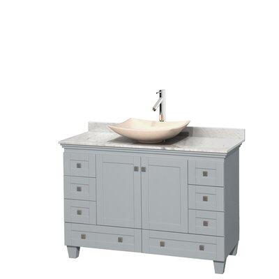 Acclaim 48 Single Bathroom Vanity Set Base Finish: Oyster Gray, Top Finish: White Carrera, Basin Finish: Ivory Marble