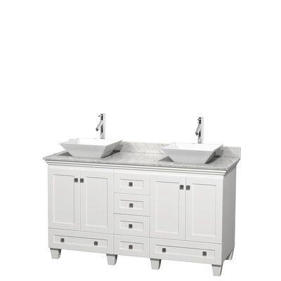 Acclaim 60 Double Bathroom Vanity Set Base Finish: White, Top Finish: White Carrera, Basin Finish: White Porcelain