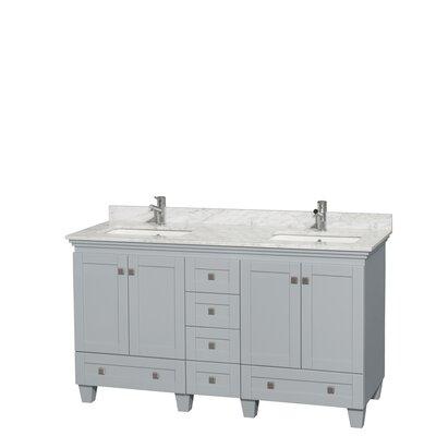 Acclaim 60 Double Bathroom Vanity Set Base Finish: Oyster Gray, Top Finish: White Carrera
