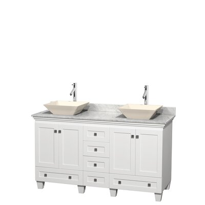 Acclaim 60 Double Bathroom Vanity Set Basin Finish: Bone Porcelain, Base Finish: White, Top Finish: White Carrera
