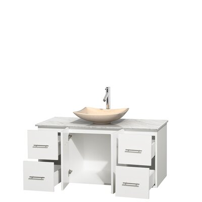 Centra 48 Single Bathroom Vanity Set Top Finish: White Carrera, Basin Finish: Ivory Marble, Base Finish: Matte White
