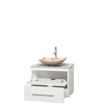 Centra 30 Single Bathroom Vanity Set Basin Finish: Ivory Marble, Base Finish: Matte White, Top Finish: White Carrera