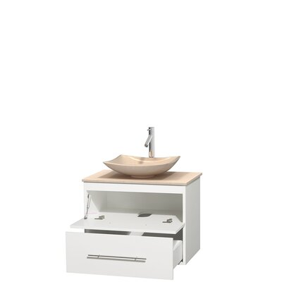 Centra 30 Single Bathroom Vanity Set Base Finish: Matte White, Top Finish: Ivory, Basin Finish: Ivory Marble