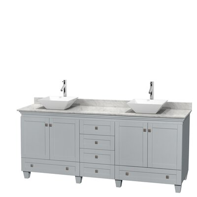 Acclaim 80 Double Bathroom Vanity Set Base Finish: Oyster Gray, Top Finish: White Carrera, Basin Finish: White Porcelain