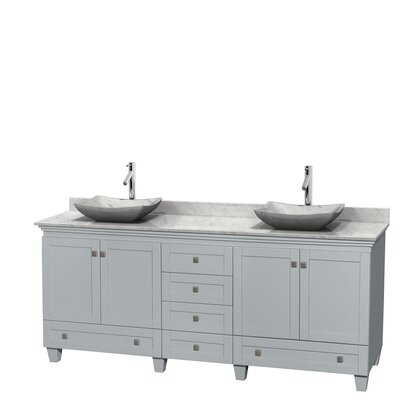 Acclaim 80 Double Bathroom Vanity Set Base Finish: Oyster Gray, Top Finish: White Carrera, Basin Finish: White Carrera Marble